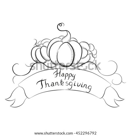Happy thanksgiving banner with pumpkins. Can be used for logotype. #452296792
