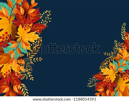 Happy Thanksgiving Calligraphy Text with Illustrated Leaves Over Background, Vector Typography