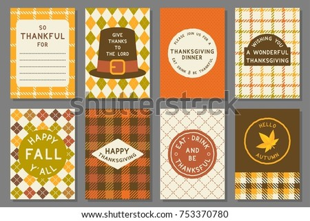 happy thanksgiving card template,invitation and elements for thanksgiving day, flat design vector in retro style #753370780