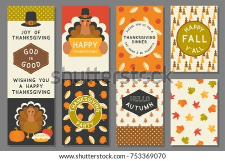 happy thanksgiving card template, invitation, elements and seamless pattern for thanksgiving day, flat design vector