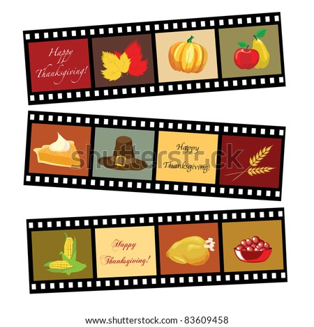 Happy Thanksgiving card template. Photos of Thanksgiving icons. EPS10 vector format.