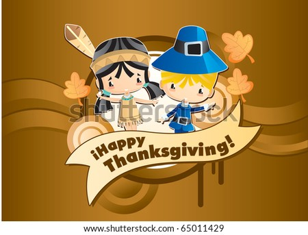 Happy Thanksgiving.  Cool vector characters congratulates.