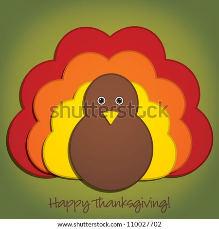 Happy Thanksgiving cute material turkey card in vector format.