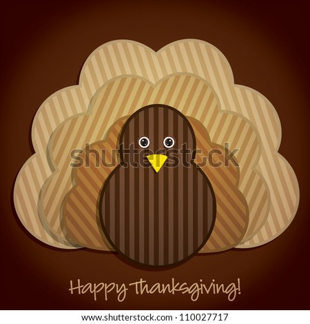 Happy Thanksgiving cute material turkey card in vector format. - stock vector