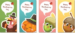 Happy Thanksgiving Day card or flyer with turkey, pumpkin and walnuts