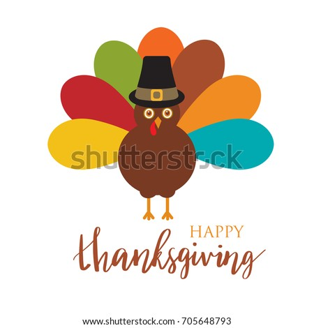 Happy Thanksgiving Day card with cute turkey in pilgrim hat, autumn holiday vector illustration