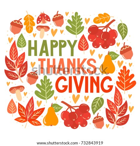Happy Thanksgiving Day greeting card design. Autumn vector set of elements. Hand drawn illustration. #732843919