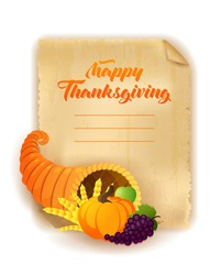 Happy Thanksgiving Day greeting card. Vector illustration of a cartoon cornucopia with a pumpkin, golden wheat, grape and apple. Old paper background.