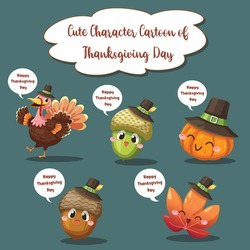 Happy Thanksgiving Day icons with berry, walnut, leaf and dried pine cones.