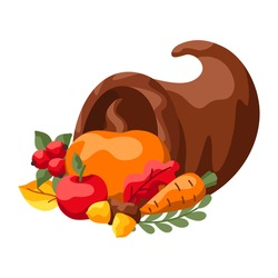 Happy Thanksgiving Day illustration. Design with holiday objects.