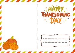 Happy Thanksgiving Day. Postcard with a logo for sending congratulations. Hand-drawn autumn leaves and pumpkins. Blank for envelope decoration. Vector illustration.