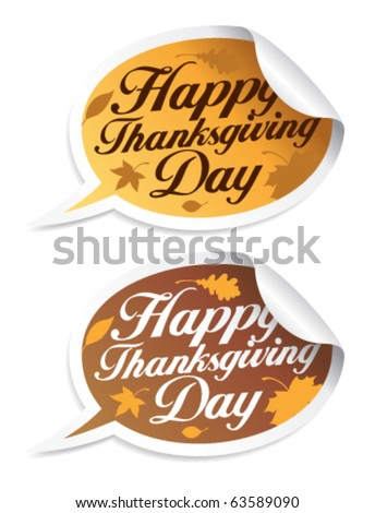 Happy Thanksgiving Day stickers in form of speech bubbles.