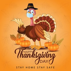 happy thanksgiving day typography. turkey bird with pumpkins and  corn Thanksgiving design use for prints,flyers,banners, invitations,special offer. vector illustration. covid19, coronavirus concept.