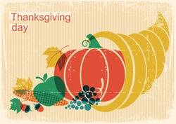 Happy Thanksgiving day vintage poster with cornucopia and autumn harvest.Vector season holiday illustration on old paper