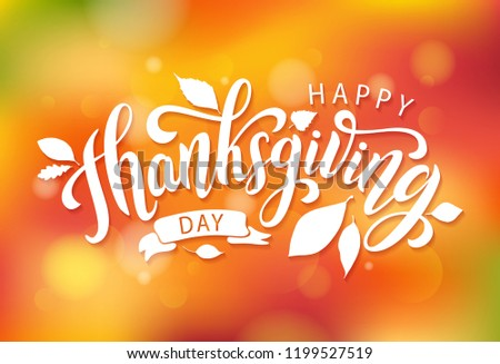 Happy thanksgiving day with autumn leaves. Hand drawn text lettering thanksgiving. Vector illustration. Script. Calligraphic thanksgiving design for print greetings card, shirt, banner. Colorful