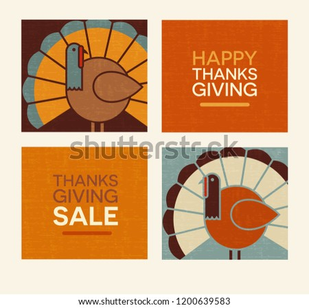 Happy Thanksgiving flat minimalist design elements. Abstract turkeys and text designs. For greeting cards, web banners, flyers, scrapbooks.