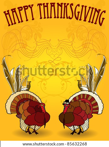 Happy Thanksgiving flyer, background, card, includes pilgrim turkey, basic turkey happy thanksgiving, and fancy embellishment. - stock vector