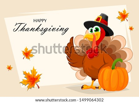 Happy Thanksgiving, greeting card, poster or flyer for holiday. Thanksgiving turkey standing near pumpkin. Vector illustration