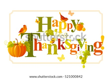 Happy Thanksgiving Greeting Card Vector Illustration Holiday Elegant Cute Text Lettering Pumpkin Icon