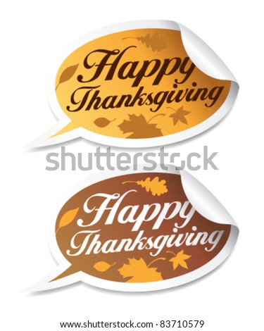 Happy Thanksgiving stickers in form of speech bubbles.