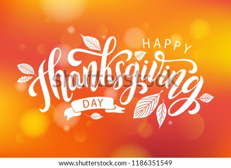 Happy thanksgiving with autumn leaves. Hand drawn text lettering for Thanksgiving Day. Vector illustration. Script. Calligraphic design for print greetings card, shirt, banner, poster. Colorful fall