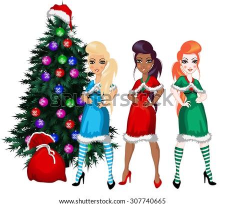 happy three beautiful girls