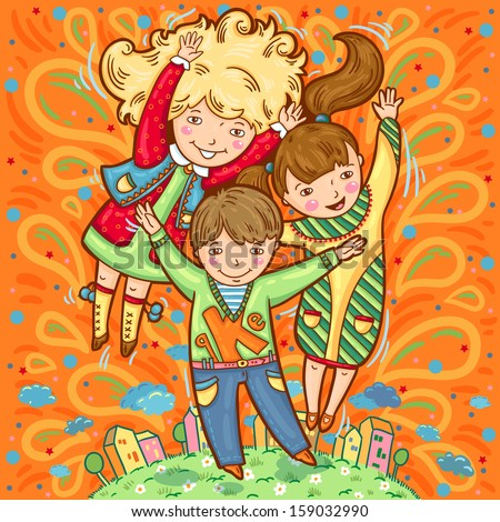 Happy three children on colorful background. Hand drawn. Jumping children. Happy emotions. Cartoon style.