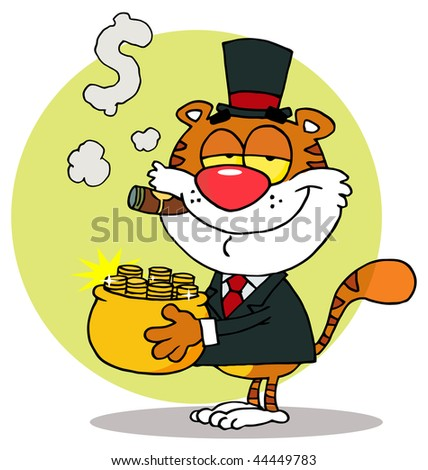 Happy Tiger Carrying A Pot Of Gold And Smoking A Cigar,background