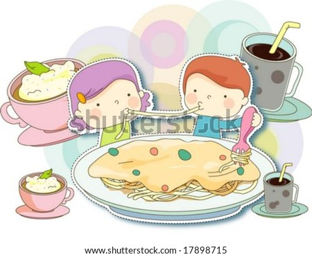 Happy Time with Cute Friends - eating delicious italian food and sweet drinks with lovely and funny little couple in snack bar on a background of colorful circle patterns : vector illustration