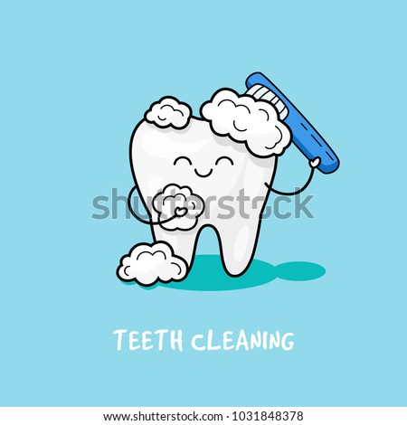 Happy tooth icon. Cute tooth characters. To brush your teeth with toothpaste. Dental personage vector illustration. Illustration for children dentistry. Oral hygiene, teeth cleaning.