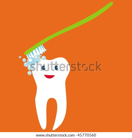 Happy tooth Personage  Teeth care concept