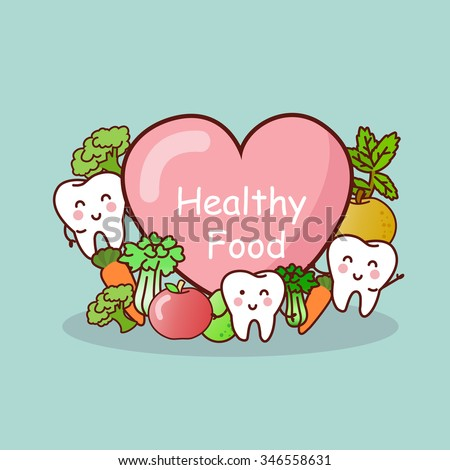 happy tooth with healthy food