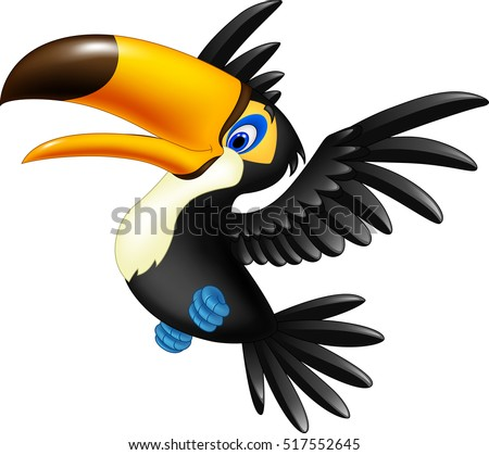 happy toucan flying