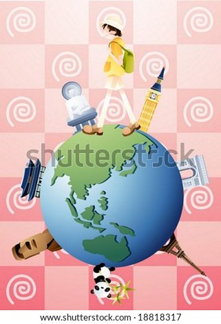 Happy Tour - traveling cute young tourist with a backpack and world famous landmarks on a beautiful globe on summer vacation background with pretty pink spiral pattern : vector illustration