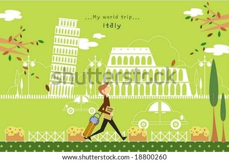 Happy Tour - traveling cute young tourist with guide and suitcase in a street of beautiful city park on romantic green background : vector illustration - stock vector