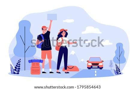 happy tourist couple