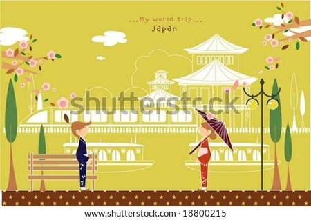 Happy Travel - cute young woman and man with beautiful traditional Japanese clothing on a street of pretty city park on romantic yellow background : vector illustration