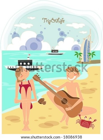 Happy Travel to Worldwide - cute young pretty woman and joyful man enjoy in the pleasant beach resort on a background with bright blue sky and clear ocean and beautiful seascape : vector illustration