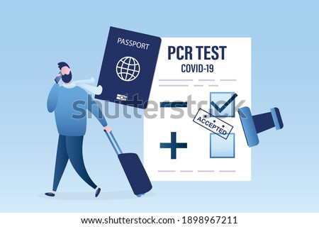 Happy traveller with negative PCR test for coronavirus. Male tourist with luggage and passport. Stamp- accepted on paper. New normal for trips, communication. Covid-19 prevention. Vector illustration