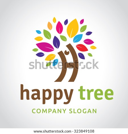 Happy tree tree logo h letter logo vector logo template for Friendship tree template