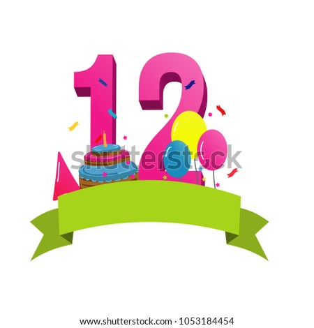 Happy twelfth birthday card vector with cake and balloons ストックフォト ©