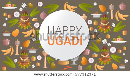 happy ugadi and gudi padwa hindu new year greeting card holiday flat vector illustration