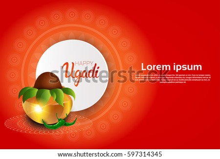 happy ugadi and gudi padwa hindu new year greeting card holiday pot with coconut flat vector