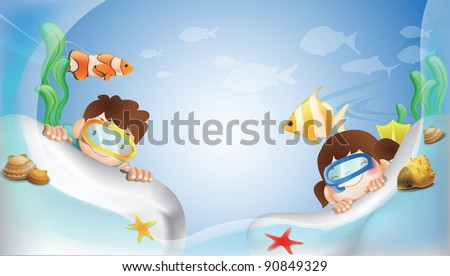 Happy Underwater Adventure with Cute Marine Life on blue background - stock vector