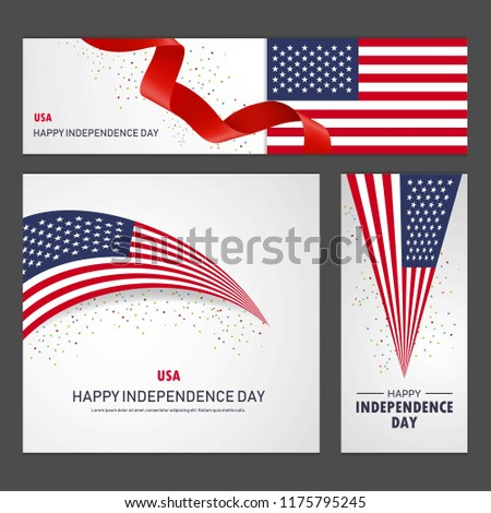 Happy United States of America independence day Banner and Background Set