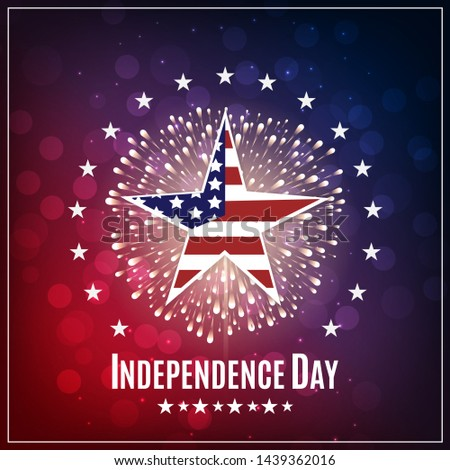 Happy USA Independence day, 4th of July. Patriotic template for greeting card, flyer, party poster, banner. American themed star, text message, sparkler and colorful light effects.