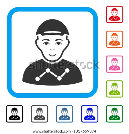 Happy User Stats vector pictograph. Human face has smiling emotion. Black, gray, green, blue, red, orange color additional versions of user stats symbol inside a rounded frame.