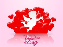 Happy Valentine day background .  Design with heart and Cupid on pastel background, paper art style . Vector.