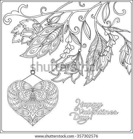 Valentine coloring pages for older kids ~ Happy Valentine Day Card With Decorative Love Heart And ...