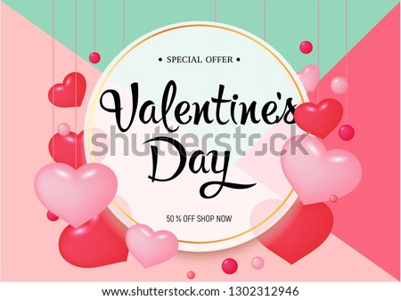 Happy Valentine Day congratulation banner with red and pink  heart shapes - vector illustration